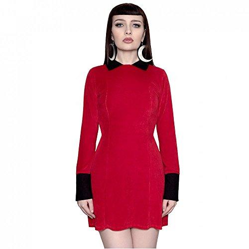 Killstar mini robe et vintage pour femme à manches longues style gothique bathory velvet mini robe avec col rouge
