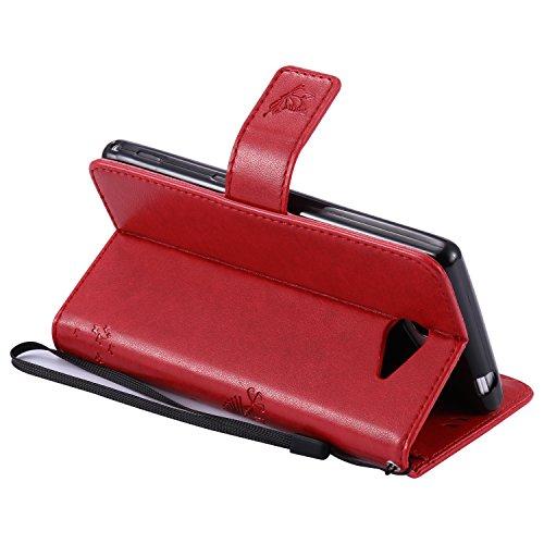 Carcasa Sony Xperia M2 Aqua, Funda Sony Xperia M2 Aqua, JAWSEU Sony Xperia M2 Aqua D2403 D2406 Tapa Trasera Carcasa Diseño Empalme Cuero Billetera PU Leather Premium y Suave TPU Silicona Case pare Son Árbol y gato, Rojo