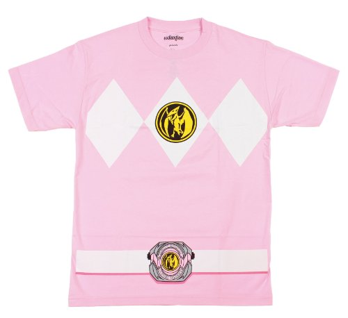 The Power Rangers Pink Rangers Costume Adult T-shirt Tee, Medium]()