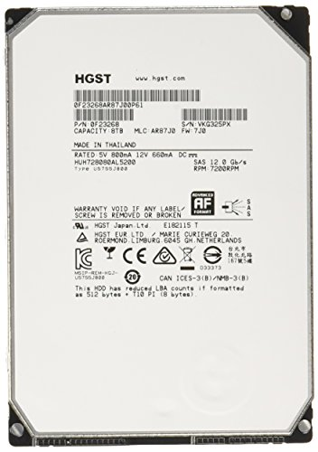 HGST, a Western Digital Company ULTRASTAR HE8 8000GB 128MB 7200RPM SAS ULTRA 512E ISE 128MB Cache 3.5-Inch Internal Bare or OEM Drives 0F23268