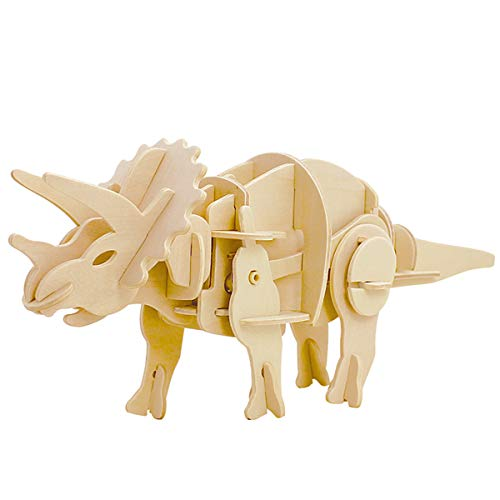 (ROKR Walking Dinosaur-3D Wooden Puzzle-Action Moveable Toy Figures Model Building Kits Brain Teasers Boys Girls Adult-Real auto-Move Mini Triceratops)