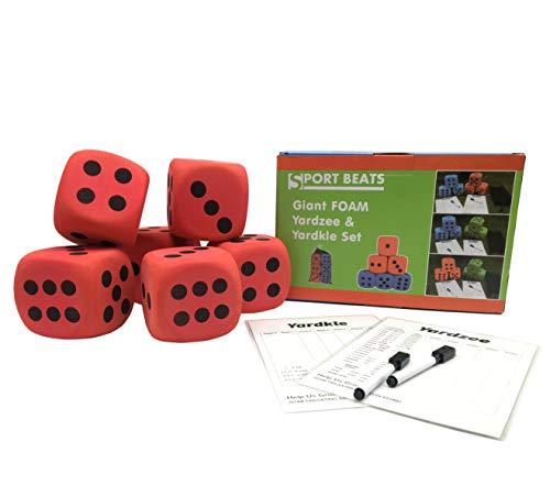 (SPORT BEATS Giant Jumbo Foam Yard Dice,Perfect for Kids Indoor yardzee-2 scoreboards& Markers Carry Bag)