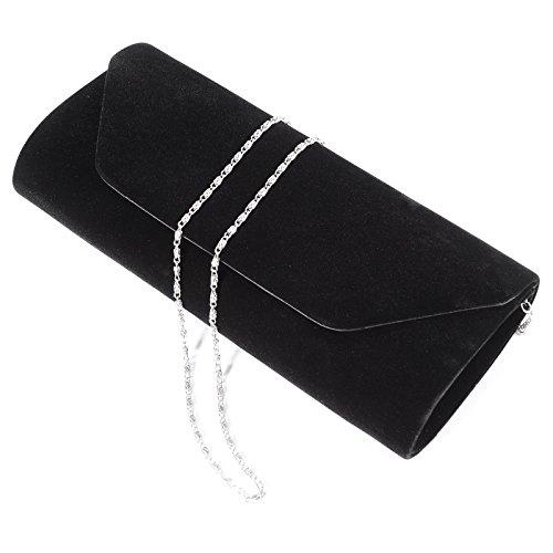 Anladia - Cartera de Mano para Fiesta Boda Salidas Bolso de Mujer Faux Suede Bolso Tipo clutch Color Azul Rojo Negro Beis Negro