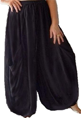 Lotustraders Wide Leg Pants Rayon Midnight Black One Size T209