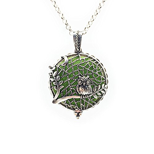 - Fuller Joy Premium Owl Aromatherapy Essential Oil Diffuser Antiqued Necklace Locket Pendant with Chain, Silver