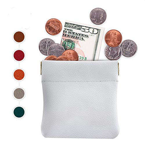 (Genuine Leather Squeeze Coin Purse,Pouch,Change Holder For Men/Woman Size 3.5 X 3.5 - HANDMADE In USA (Black) (Snow White))
