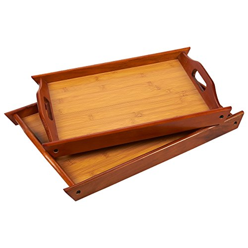 Wood Serving Tray - Large Medium Stackable Carrying Tray with Handles - Brown - 2 Piece Set - Sml- 14.8