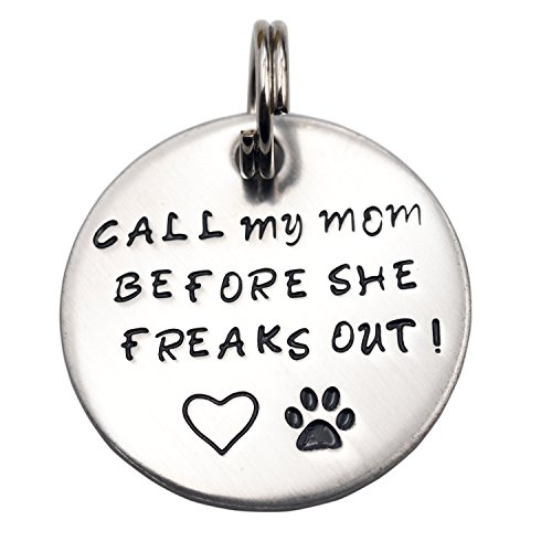 Pet Tag Dog Id My (LParkin Call My Mom Before She Freaks Out! - Unique Pet Id Tag - Dog Tag - Cat Tag - Custom Pet Tag (Small Keyring))