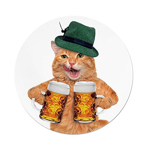 nd Tablecloth,Cat,Cool Cat Hat Beer Mugs Bavarian German Drink Festival Tradition Funny Humorous Decorative,Multicolor,Dining Room Kitchen Picnic Table Cloth Cover Outdoor I ()