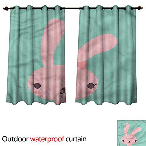 cobeDecor Cute 0utdoor Curtains for Patio Waterproof Pink Bunny Cartoon Character W72 x L63(183cm x 160cm)