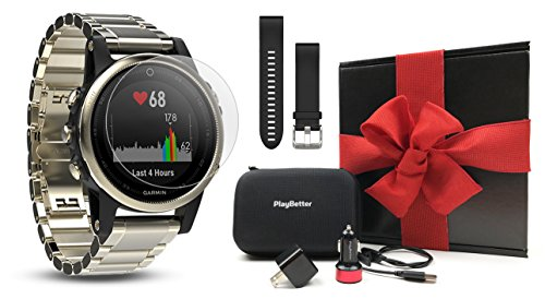 Garmin fenix 5S Sapphire (Champagne with Metal Band) GIFT BOX | Bundle includes Extra Band (Black), Screen Protector, PlayBetter USB Car/Wall Adapters, Protective Case | Multi-Sport Fitness GPS Watch by PlayBetter (Image #9)