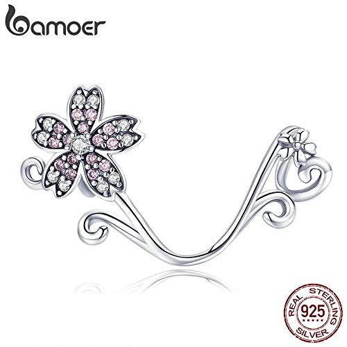 Oseni Hot Sale Authentic 925 Sterling Silver Sakura Cherry Flower Pendant Charms Fit Original Bracelets Jewelry Making SCC1033