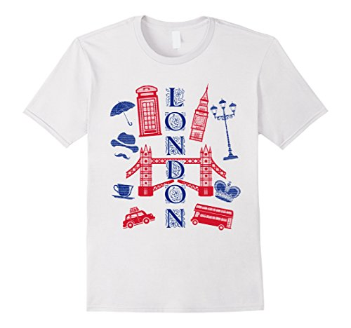 Mens London England UK T-shirt Big Ben Bus Crown Taxi Cab Phone Small White