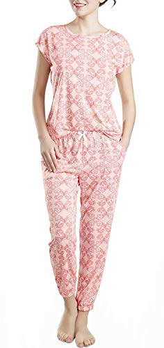 Lounge Women Pajamas Set - Pajamas for Women, Short Sleeve and Jogger Pants Sleepwear Set, Butterfly Print Medium -