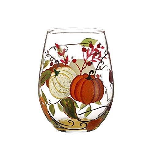 Glass Thanksgiving (V-More Stemless Wine Glass Hand-Painted Pumpkins for Gift Entertaining 18 oz (Set of 1))