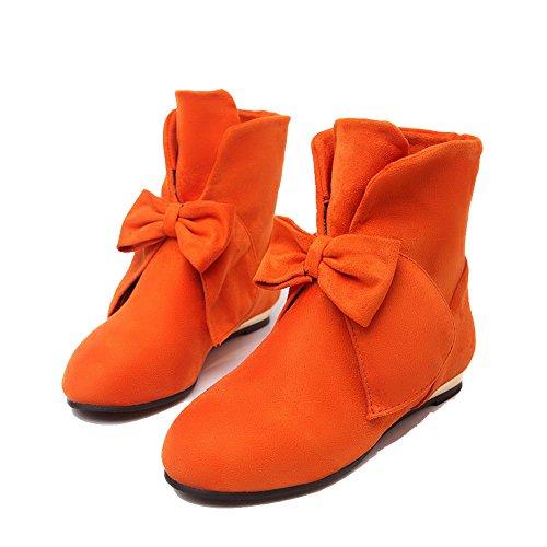 AllhqFashion Mujeres Sólido Mini Tacón Puntera Redonda Sin cordones Botas Naranja