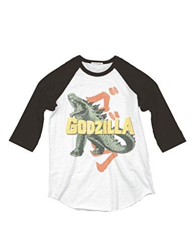 Junk food junk food godzilla adult raglan t shirt adult for Adult medium t shirt