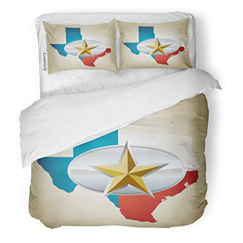 Semtomn Decor Duvet Cover Set Twin Size Blue Texas Flag and State Shape Star Belt Buckle 3 Piece Brushed Microfiber Fabric Print Bedding Set Cover ()