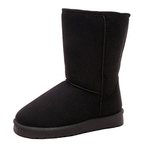Mashiaoyi Women's Warm Flat Slip-on Half Snow Boots Black