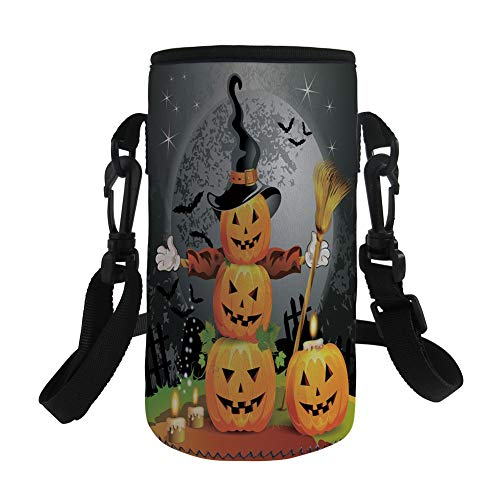 Small Water Bottle Sleeve Neoprene Bottle Cover,Halloween,Cute Pumpkins Funny Composition Traditional Celebration Witches Hat Broomstick,Multicolor,Great for Stainless Steel and Plastic/Glass Bottles,