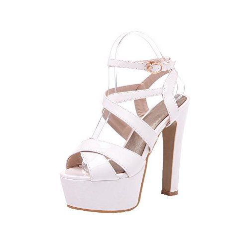 Pu VogueZone009 Solid Buckle Women Toe White High Heels Open Sandals qrPxX6r