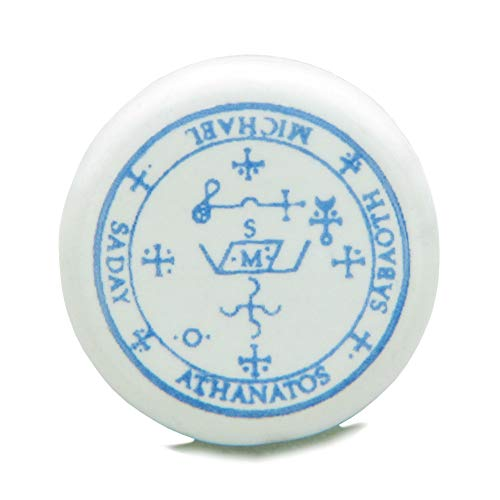 10 Pieces DIY Archangel Michael Sigil Ceramic Handcrafted Sky Blue Accent 21mm Beads Large Vertical Hole