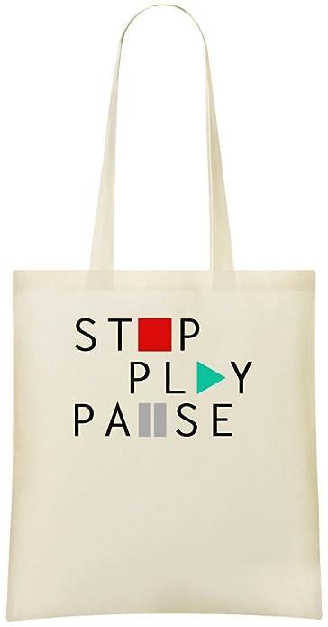 aae7e92e6e4c Stop Play Pause Custom Printed Tote Bag - 100% Soft Cotton - Eco-Friendly