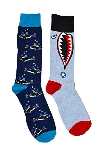 Mens Shark Killer Shark (Mens Novelty Trouser Socks 2 Pair Bundle FineFit Themed Pattern (Shark Head & Killer Whales))