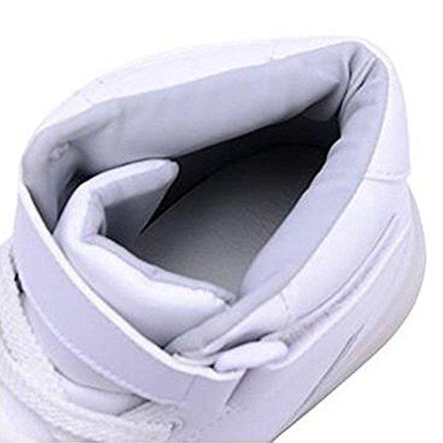 Luckfugui Mannen Vrouwen Volwassen Metalen Hoge Top Usb Led Oplichten Schoenen Knipperende Sneakers, Hiphop Schoenen, Straat Dansschoenen White2