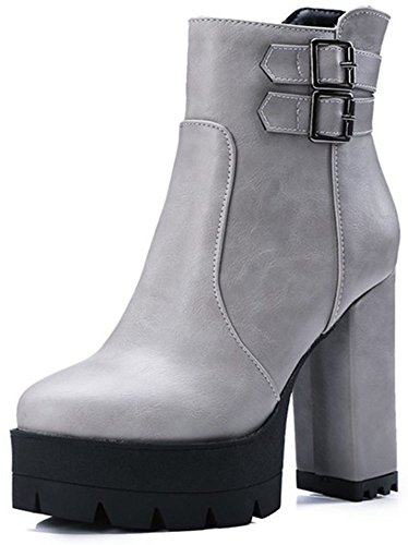 Easemax Women's Trendy Zip Up High Chunky heel Round Toe Platform Ankle High Booties Grey j82AA