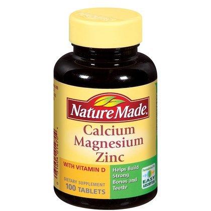 Nature Made zinc magnésium calcium avec vitamine D, comprimés, 100 ct.