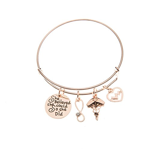 Infinity Collection Nurse Bracelet, Rose Gold Nurse Charm Bracelet, Nurse Jewelry, Makes Perfect Nurse Gifts