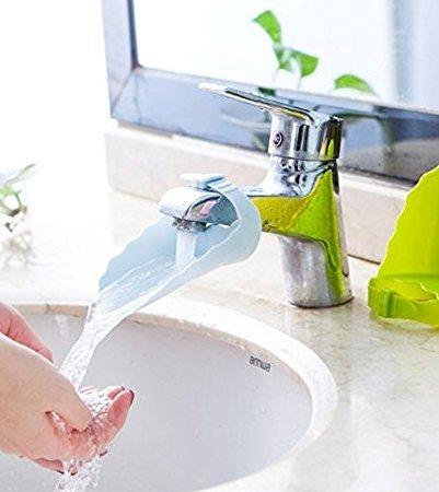 Dasuke Extendeur dextension de robinet mignon pour les enfants b/éb/é mains laver la conception de grenouille de dessin anim/é salle de bainFrosch Design Blue