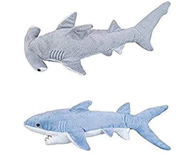 "ADVENTURE PLANET - Plush SHARKS - 14"" MAKO & 13"" HAMMERHEAD Shark - Stuffed Animal - OCEAN Life - Soft Cuddly Shark Week TANK TOY Gift"