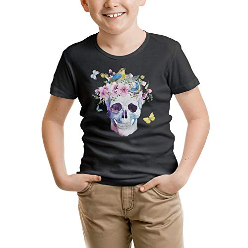 - RFTER Watercolor Skull Butterfly Children T-Shirts Black Cotton Fashion Short Sleeve