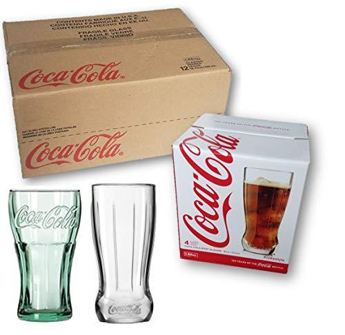 (12-Pc Libbey 16.75 oz Coca Cola Glasses Drinkware Bundled with 100th Anniversary 4-Pc Coca Cola 16 oz Root Glass Set)