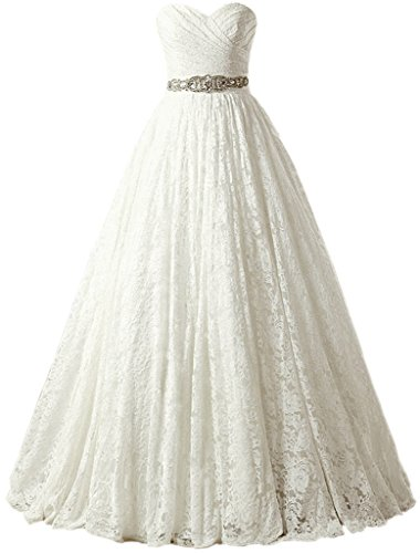 Maggie Sottero Prom - SOLOVEDRESS Women's Ball Gown Lace Princess Wedding Dress 2017 Sash Beaded Bridal Evening Gown (US 6,Ivory)