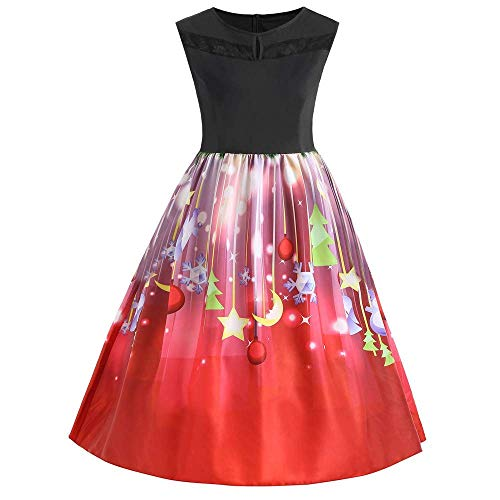 Women's Vintage A-line Printed Pleated Flared Skirts Christmas Dress(Red XXXXL)