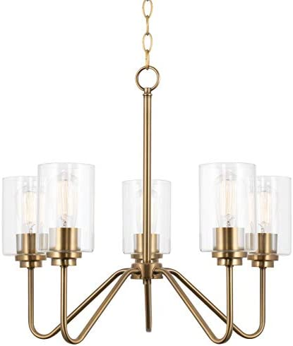Kira Home Charlotte 21″ Modern 5-Light Large Chandelier Clear Glass Shade