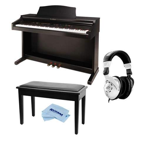 Kawai CE220 88 Wooden-Key Action Digital Piano - Bundle With Behringer HPS3000 High-Performance Studio Headphones, On-Stage KB8904B Deluxe Piano Bench with Storage Compartment, Microfiber Cloth by Kawai