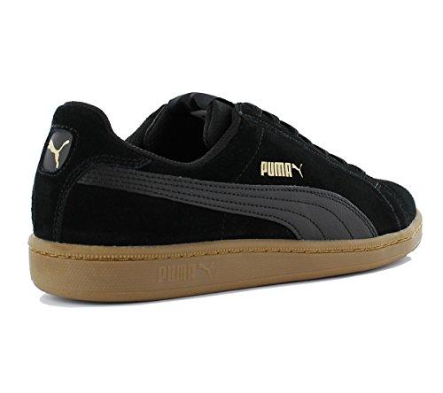 Puma Smash SD 361730-30 Herren Schuhe Turnschuhe Freizeit Wildleder Sneaker Schwarz Schwarz (Schwarz-Gold)