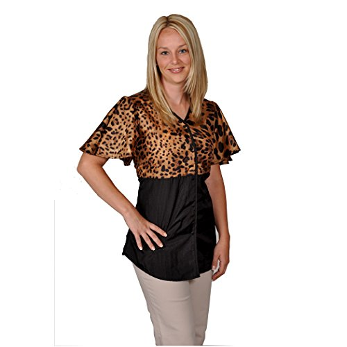 Leopard print Groomer/Stylist Jacket with snaps (Large)