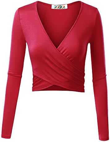 KIRA Women's Deep V Neck Long Sleeve Unique Cross Wrap Slim Fit Crop Tops