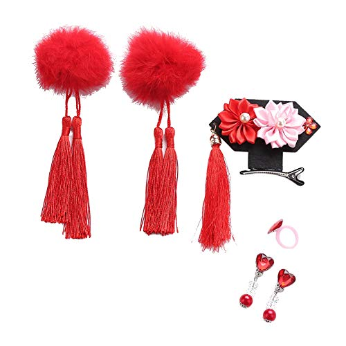 ESHOO Chinese Girls Hairclips Set Fluffy Ball Tassel Flower Hairpin Princess Cheongsam Costume Hair Accessories]()