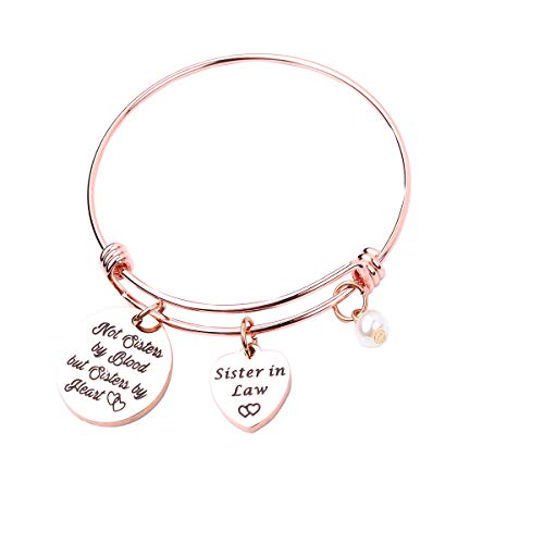 REEBOOO Sister in Law Bracelet Sister of The Groom Gift When I Married Your Brother I Gained A Sister Wedding Jewelry (Rose Gold) (Gifts For Your Brother And Sister In Law)
