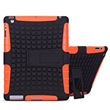 TKOOFN Heavy Duty Silicon Defender Multilayer Protective Skin Military Bumper Antislip Case Cover Built in Stand for Apple iPad 2 / iPad 3 (The New iPad) / iPad 4 (iPad with Retina Display) + Screen Protector + Stylus + Cleaning Cloth Orange - PT7107