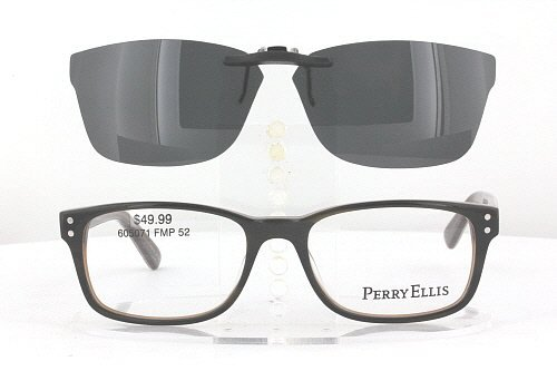 Amazon.com: PERRY ELLIS PE300-52X17 POLARIZED CLIP-ON SUNGLASSES ...