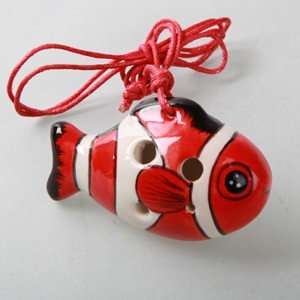 Clown fish 4 Holes Novelty Pendant Ceramic Ocarina. Great Gift, Dexterous, Easy to Carry and Learn. Linn's Arts!