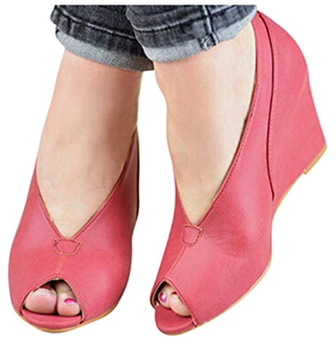 (High Heel Platform Sandals Boots Summer Womens Thick Bottom Fish Mouth Wedges Sandals Peep Toe Shoe by Gyouanime Red)