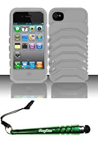 FoxyCase(TM) FREE stylus AND For iPhone 4 - Armor Case w Clip White AM Desire Safe Phone Protector Cover cas couverture